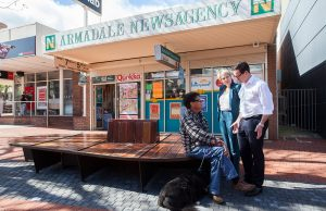 Cedric Hohrmann from Armadale talks crime with Labor candidate for Canning Matt Keogh and deputy Labor leader Tanya Plibersek in the Jull Street mall. Photograph — Matt Devlin.