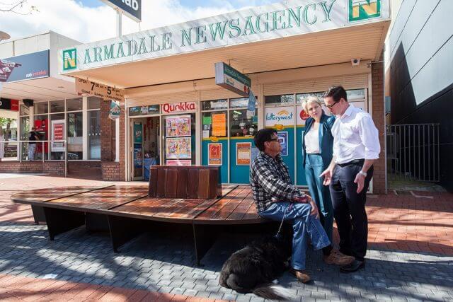Cedric Hohrmann from Armadale talks crime with Labor candidate for Canning Matt Keogh and deputy Labor leader Tanya Plibersek in the Jull Street mall. Photograph — Matt Devlin.