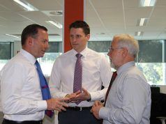 Prime Minster Tony Abbott, Canning Liberal candidate Andrew Hastie and City of Armadale mayor Henry Zelones discuss CCTV.