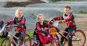 BMX riders Imogen, Sienna and Taj Hamilton will compete in the 2015 super series round nine this weekend. Photograph — Matt Devlin.