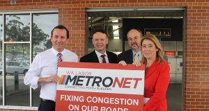 State opposition leader Mark McGowan, Member for Gosnells Chris Tallentire, Member for Cannington Bill Johnston and shadow transport minister Rita Saffioti announced Labor's recommitment to extend the Thornlie line at Thornlie train station this week.