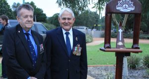Serpentine Jarrahdale president Ric Giblett and Peter Dimopoulos on Anzac day in 2013. Photograph — Robyn Molloy.