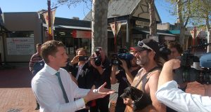 Liberal candidate for Canning Andrew Hastie speaking to locals in the Jull Street Mall on Tuesday. Photograph — Hamish Hastie.