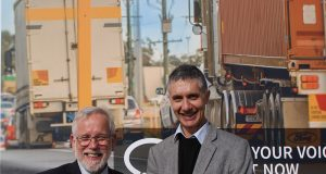 Armadale Mayor Henry Zelones and member for Armadale Tony Buti on Armadale Road as part of the City of Armadale's community connect south campaign.