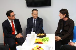 Labor candidate Matt Keogh and opposition leader Bill Shorten met with Armadale's Hope community services chief executive Debra Zanella on Thursday.