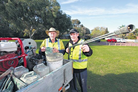 Civic pride action group volunteers Graeme and Don provide a vital service to City of Armadale residents but now they need some more help. Photograph — Matt Devlin.