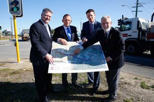Finance Minister Mathias Cormann, Prime Minster Tony Abbott, Canning Liberal candidate Andrew Hastie and City of Armadale mayor Henry Zelones discuss the Armadale Road.