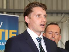 Canning by-election candidate Andrew Hastie with Tony Abbott on Saturday in Kelmscott. Photograph - Robyn Molloy.