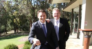 Canning candidate Andrew Hastie and Small Business Minister Bruce Billson. Photograph — Robyn Molloy.