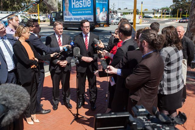 Shadow minister for infrastructure and transport Anthony Albanese with Labor candidate for Canning Matt Keogh at Denny Avenue on Tuesday. Photograph — Matt Devlin.