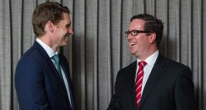Liberal candidate Andrew Hastie and Labor candidate Matt Keogh at the Fox and Hound on Tuesday night. Photograph — Matt Devlin.