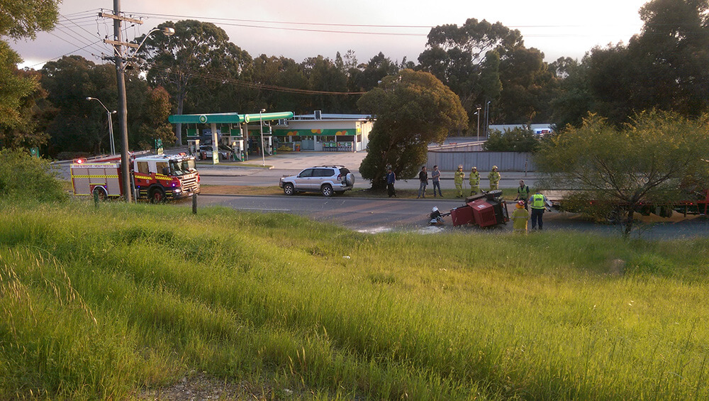 The overturned lighting trailer on Albany Highway, Armadale. Photograph – Peter Warren.