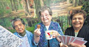 Angie Stone, Myra Cunningham and Noreen Vallis enjoy a day of socialising at the club. Photographs — Matt Devlin.