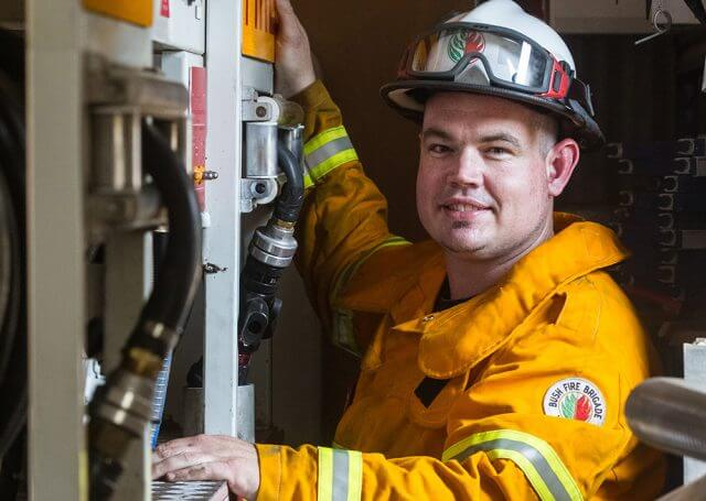 Damon Barrett is living out his dream to help the community by becoming a volunteer firefighter. Photograph — Matt Devlin.