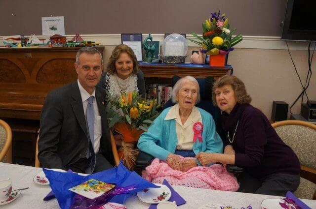 Seniors Minister Tony Simpson, Graceford facility manager Zofia Graham, Mary Powell and her daughter Delys Cumming celebrated Ms Powell's 105th birthday.