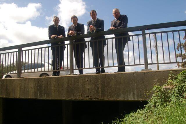 Member for Darling Range Tony Simpson, Liberal candidate for Canning Andrew Hastie, Federal Justice Minister Michael Keenan and Shire of Serpentine Jarrahdale president Keith Ellis.