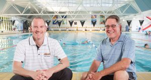 Riverton masters swim club president Damien Eyre and treasurer Graeme Pow encouraged people to get into swimming during the warmer months. Photograph — Matt Devlin.