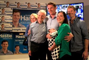 Andrew Hastie with his parents Sue and Peter, brother David, wife Ruth and son Jonathon. Photograph - Robyn Molloy.