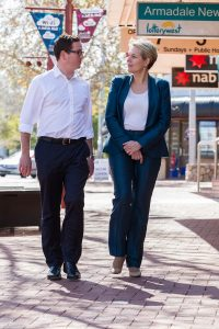 Labor candidate for Canning Matt Keogh and deputy Labor leader Tanya Plibersek in the Jull Street mall. Photograph — Matt Devlin.