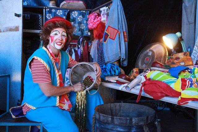 Circus Joseph Ashton's Goldie the clown will perform her final shows in Armadale until November 15. Photograph — Matt Devlin.