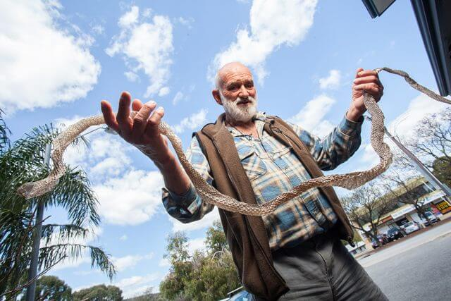 Kelmscott resident Keith Mann with the snakeskin he found at his son's Byford home. Photograph — Matt Devlin