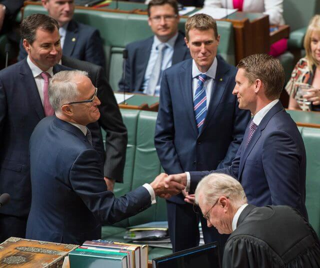 Prime Minister Malcolm Turnbull welcomes Member for Canning Andrew Hastie to parliament.