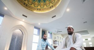 Masjid Ibrahim spokesman Talha Patel and Imam Abu Bakar Amade will welcome the public into the mosque on Saturday. Photograph – Matt Devlin.