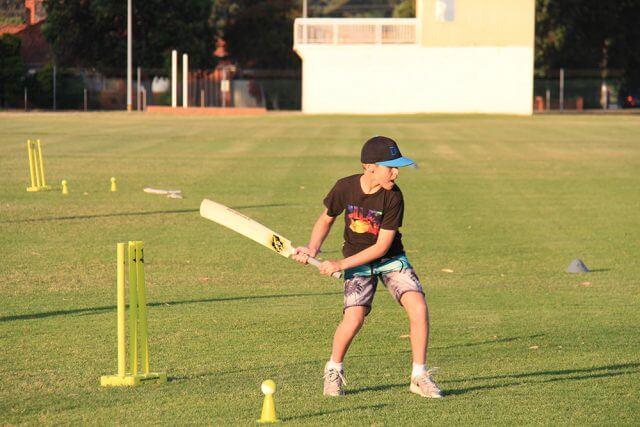 Dalton Briggs from Armadale tries batting. Photograph - Robyn Molloy.