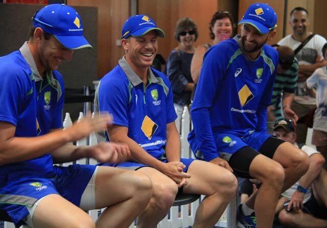 Australian Test cricketers Josh Hazlewood, David Warner and Nathan Lyon rib each other during a Q&A at the WACA. Photograph — Robyn Molloy.