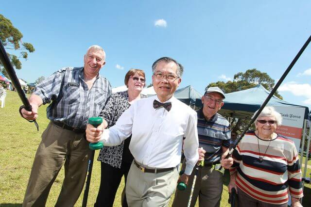 Robert and Jenny Albonico, City of Canning mayor Paul Ng, Ben Bianchini and Mary Bianchini at the City of Canning's seniors week activities on Monday. Photograph — Hamish Hastie.