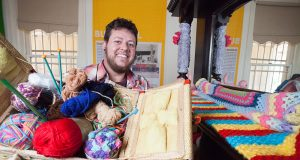 Yarn bombing artist Lex Randolph will pass on his expertise at a workshop on Sunday. Photograph — Matt Devlin.