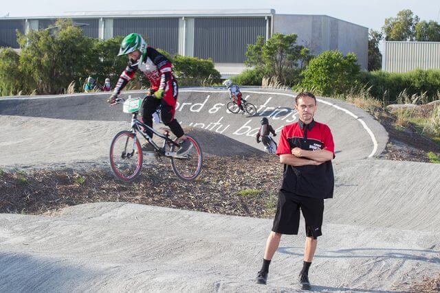 Byford BMX club president Kevin Morrow and riders were calling for the construction of a new track. Photograph — Matt Devlin.