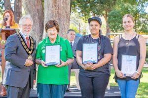 Armadale mayor Henry Zelones, Armadale Neighbourhood Watch's June MacDonald and Ignite's Nicole Elliot and Javeena Miller.