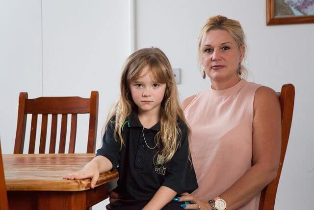 West Byford parent Carmel Doherty will have to transfer her daughter Shamieka to another school following the closure of the West Byford OSH club. Photograph — Matt Devlin.