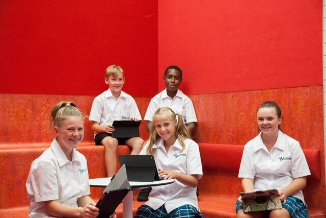 Byford Secondary College year seven students Nash Waldron, John George, Tori Schilling, Kira Gibsone and Abbie McKenzie are part of the school's largest cohort yet. Photograph — Matt Devlin.
