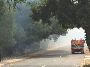 Fire trucks descend on Weld Street Forrestdale just before 3pm. Photograph - Hamish Hastie.