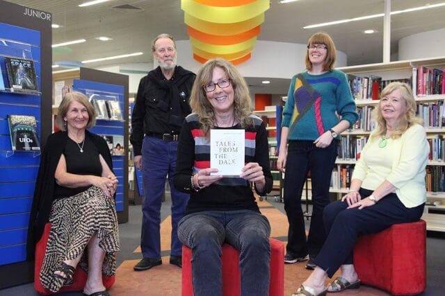Armadale Writers' Group members Shirley Vidovich, Trevor Herron, Liz Reed, Gemma Sidney and Sonia Bellhouse with the Tales From The Dale anthology launching this Saturday. Photograph — Matt Devlin.