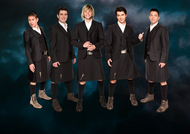 Original band member and former Glee star Damian McGinty (second from right) will join Celtic Thunder's Keith Harkin, Ryan Kelly, Emmet Cahill and Neil Byrne.
