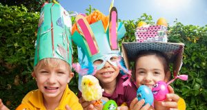 Jarrahdale Primary School students Peter Denholm, Jasper Richards and Sienna Young get creative for Easter. Photograph — Matt Devlin.