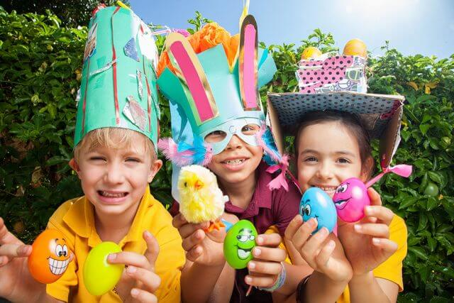 Jarrahdale Primary School students Peter Denholm, Jasper Richards and Sienna Young get creative for Easter. Photograph — Matt Devlin.
