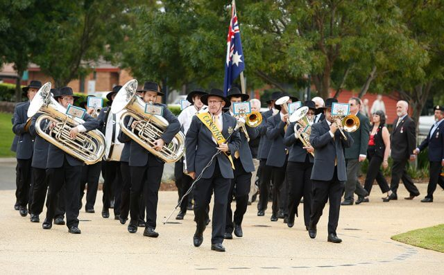 The Canning City Brass Band marched at the Anzac Day service.
