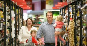 New Tangney Liberal Party candidate Ben Morton with his wife Asta and their two children Harrison and Madeleine.