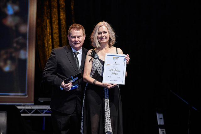 Professor Phillip Della from Curtin University and Dr Susan Slatyer with her award. Photograph - Brayton Gilette.