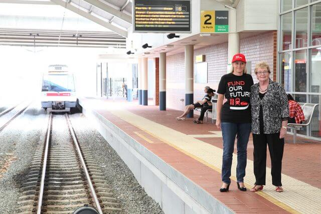 City of Gosnells policy assistant to the chief executive Maxine McInnes and mayor Olwen Searle are calling for the extension of the Thornlie train line. Photograph — Matt Devlin.