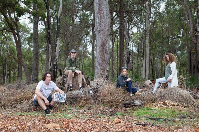 Blair Giblett, Koen Giblett, Chanae Dunstan and Isabella Leitch-Keating will bring the past alive at the Jarrahdale ghost walk. Photograph — Matt Devlin.