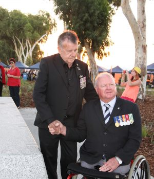 Vietnam veteran and Serpentine Jarrahdale RSL president Ric Giblett was instrumental to the creation of Anzac Memorial Park in the Glades, Byford. He is pictured here at the park's opening in April 2015 with RSL state president Graham Edwards, also a Vietnam veteran. Photograph — Robyn Molloy.