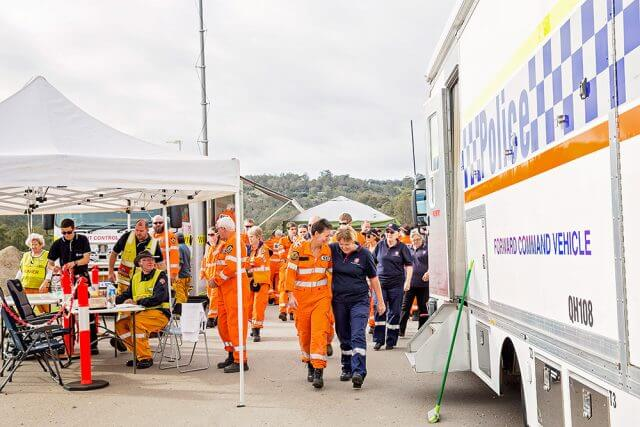 Jubilant SES workers and volunteers after this morning's search for a 77-year-old woman. Photograph - Kelly Pilgrim-Byrne.