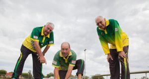 Tony Churcher, Thornlie Bowling Club director Rick Scupham and Laurie Curtis are excited about the club reaching 50 years. Photograph — Matt Devlin.