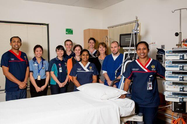 Acting Armadale Health Service ICU clinical nurse specialist Nimmi Benny (front) with the rest of the ICU team who helped develop the Organ Retrieval Program at Armadale Kelmscott Memorial Hospital. Photograph — Kelly Pilgrim-Byrne.