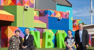 Langford resident Zora Elliss, City of Canning mayor Paul Ng, Telstra technician Rebecca Dhu and Telstra area general manager Boyd Brown at the NBN launch outside the Cannington exchange in April. Photograph — Matt Devlin.